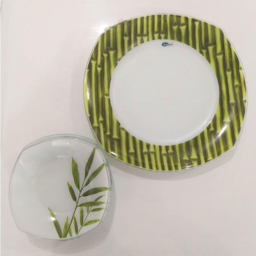 Conjunto 07 pçs quadrado sobremesa Decor Glass.