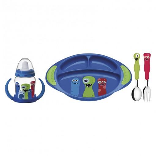 Kit Infantil Tramontina Azul com Copo Talheres Aço Inox Cabos Polipropileno 4 peças